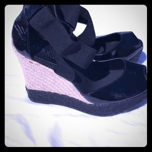 Ralph Lauren black wedges